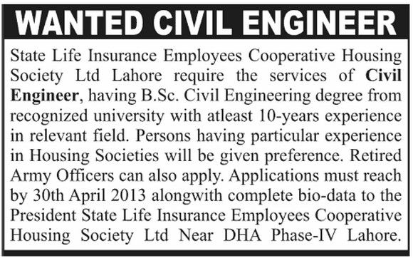 Job For Civil Engineer In State Life Insurance  Jobs Career
