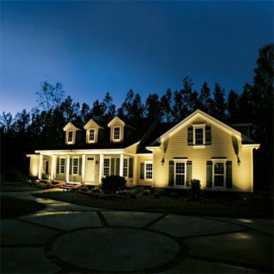 All About Landscape Lighting | Old houses, Columns and Landscapes:Upward-facing bullet lights placed about a foot from the foundation focus  attention on a,Lighting