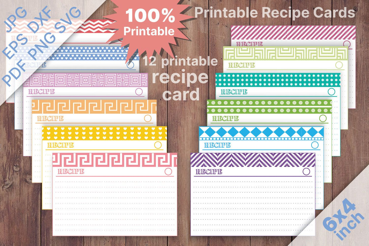 Printable Recipe Cards 4x6 Recipe Cards Editable Recipes Etsy Printable Recipe Cards Recipe Cards Template Recipe Cards Printable Free