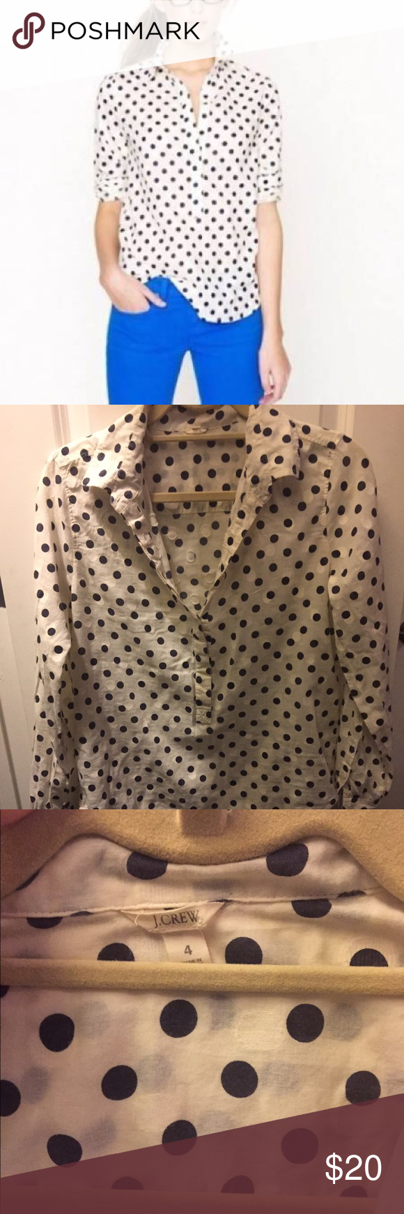 J. Crew Popover blouse Barely worn, great condition blouse with polka dots. J. Crew Tops Blouses