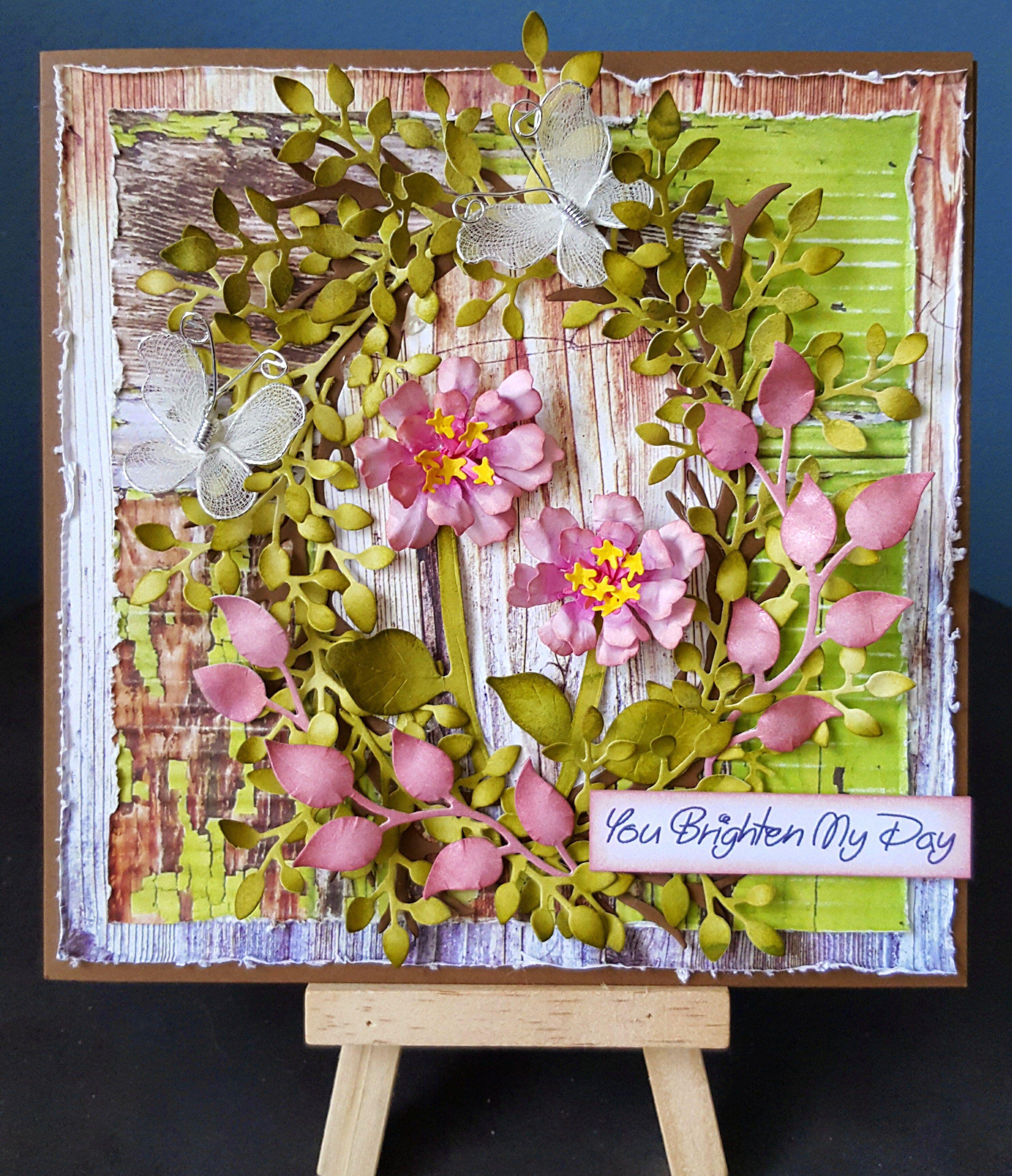 Zinnia Grapevine Wreath Card