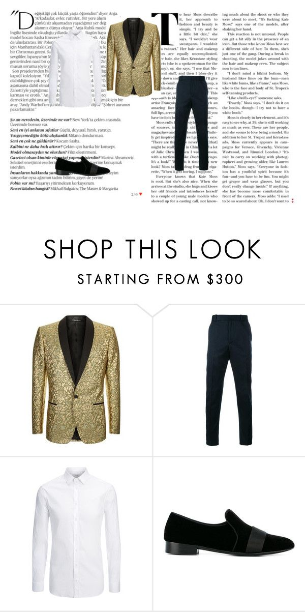 """D&G and GOLD outfit"" by nab1001 ❤ liked on Polyvore featuring Balmain, Dolce&Gabbana, Gucci, Joseph, Giuseppe Zanotti, men's fashion and menswear"