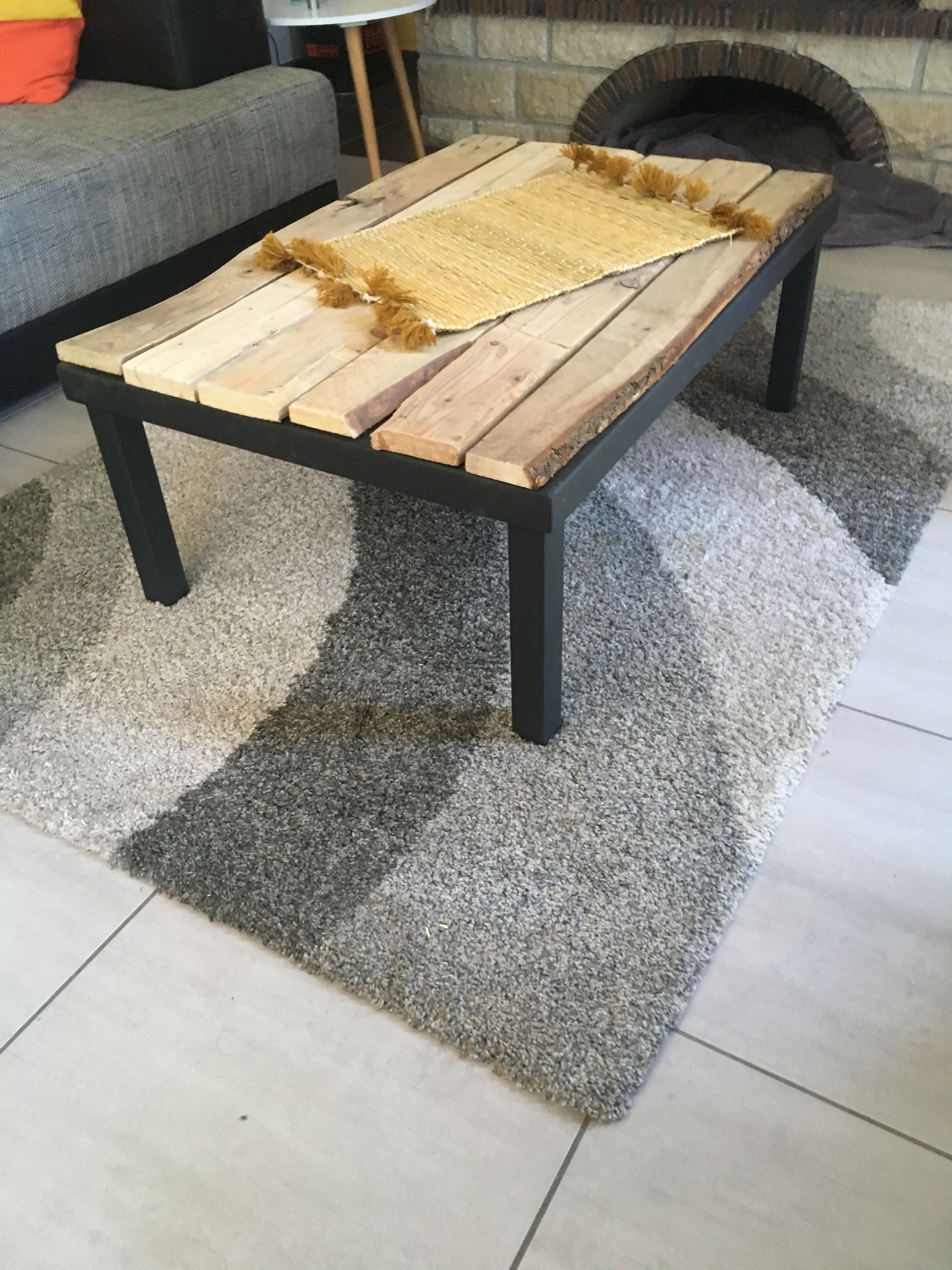 table basse noire relookee table