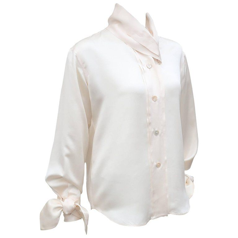 7a203f4862 1980's Romeo Gigli Ivory Silk Blouse With Sash Cuffs in 2019 ...