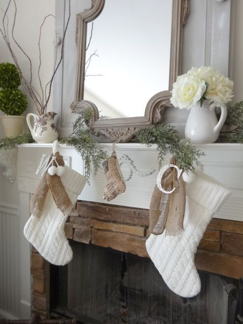 2015 Christmas Burlap Tied Crochet Stocking Cable Pattern With Pompons Hung on Mirror Fireplace - Christmas Decor, Flower Vase, Green Plants