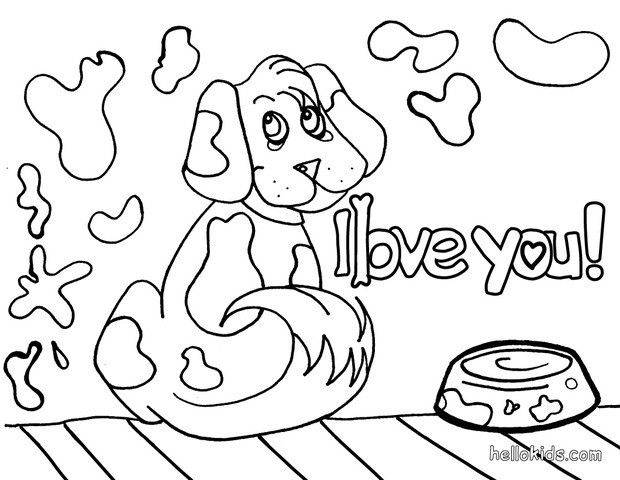 Enjoy coloring this dog in love coloring page nice dog drawing for kids more