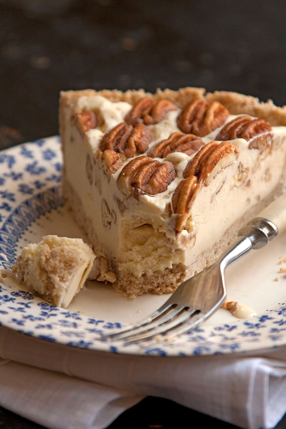 Pecan Pie Ice Cream Pie--a new twist on the classic pecan pie: a nutty pressed pie crust is filled with a buttery, rich pecan-vanilla ice cream.