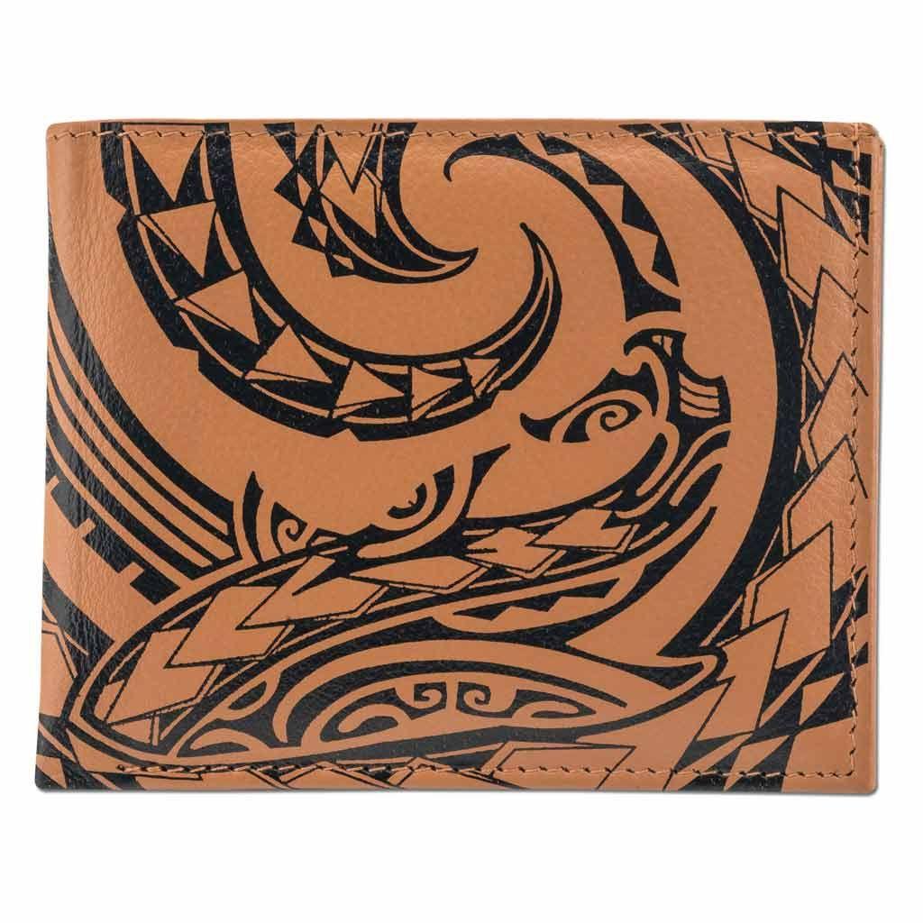 SALE - Tribal shark tattoo bifold wallet - Design: Mano by Kuaika Quenga - Tan