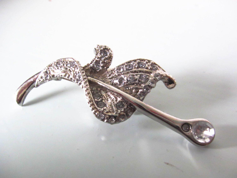 Vintage Ladies Brooch, Vintage Pin, Sliver Leaf Design Brooch, Sliver And Rhinestone  Brooch, Ladies Brooch, Ladies Pin, Gift For Her