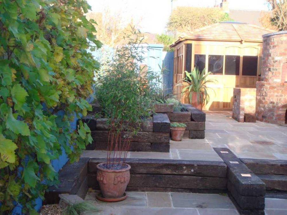 Railway Sleepers | Mediterranean garden, Backyard ...