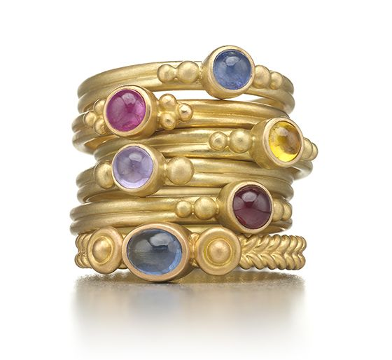 Dyan Ring in Peach Gold with Multi-Colored Saphpires The Dyan is the perfect stacking ring, and delicate and subtle when worn alone. Available in an assortment of colorful sapphires and beautiful diamonds, and several R