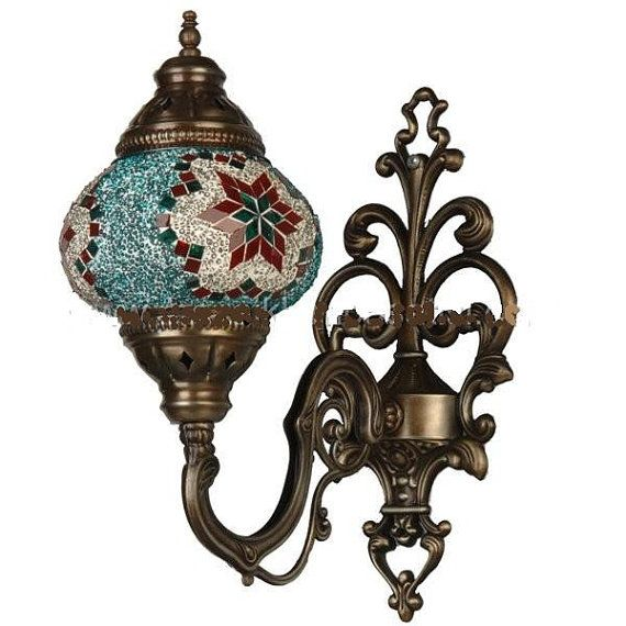 Wall sconce CAST Turkish Moroccan Hanging Glass Mosaic Lamp