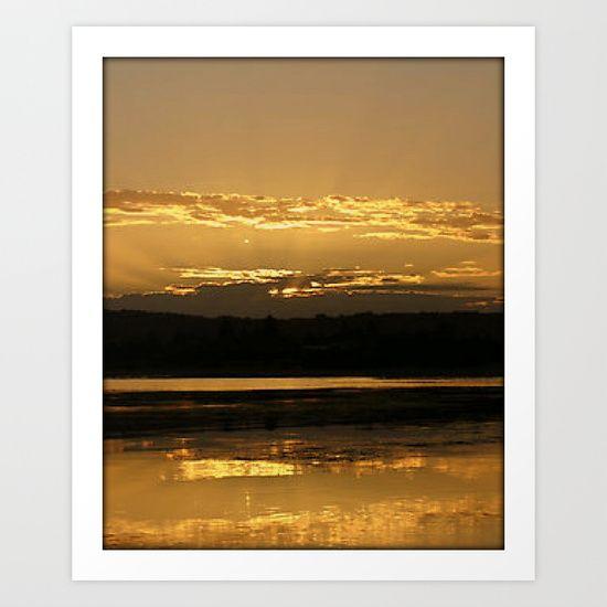 Sunset, Reflections, Golden, Lake, Australia.