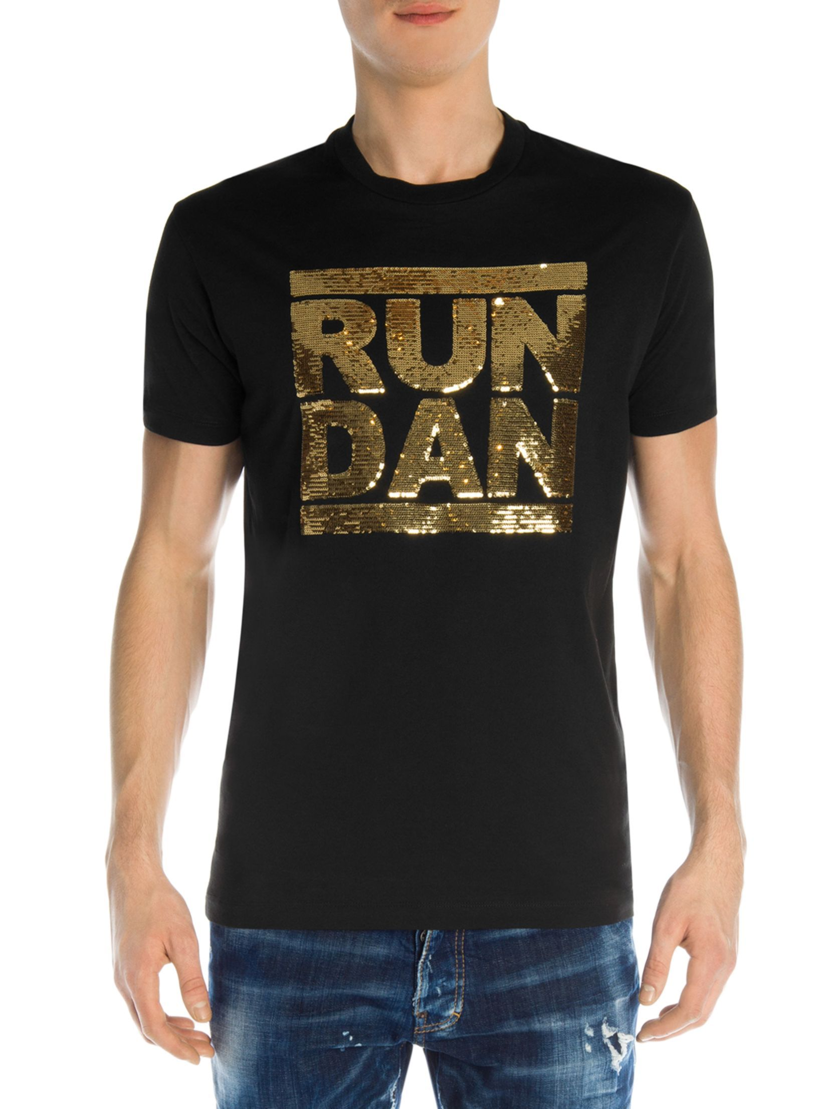 87ea291a DSQUARED2 Run Dan Sequin Cotton Tee | T-shirts | Mens tops, Cotton ...