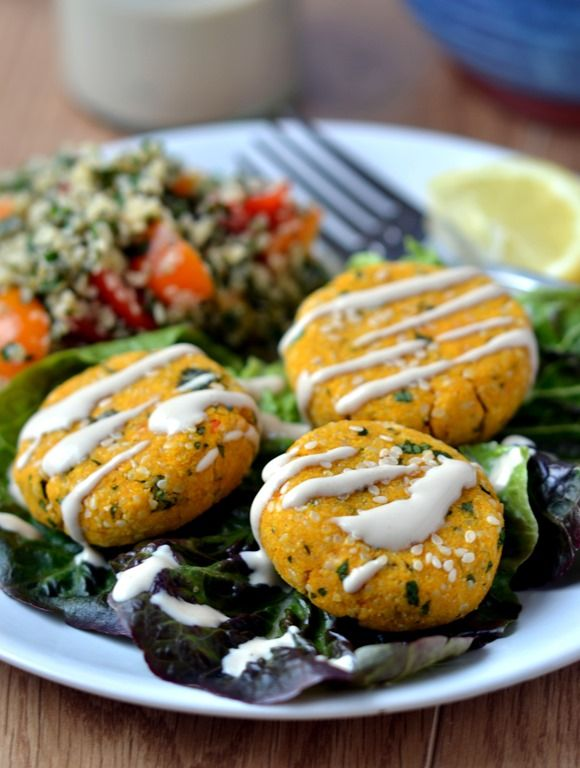 Raw Carrot Falafel Hemp Seed Tabouli With Yellow Tomatoes And Mint