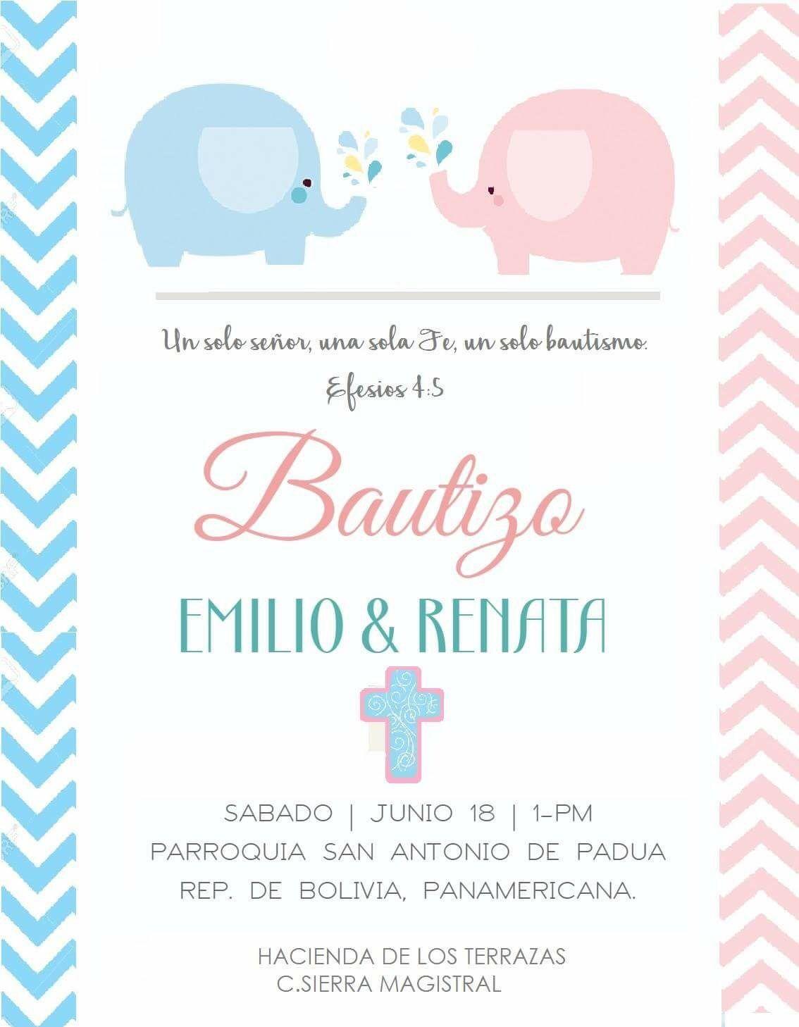 Bautizo Invitación Doble Oraciones De Bautizo