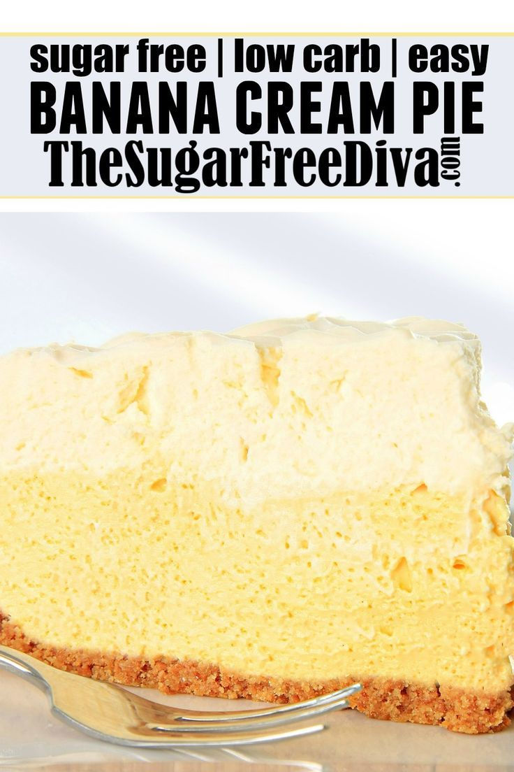 Easy Sugar Free Banana Cream Pie - THE SUGAR FREE DIVA #bananapie