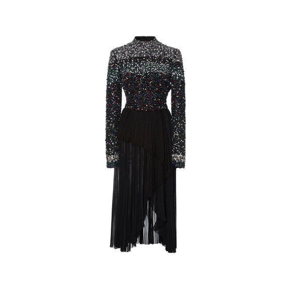 J. Mendel Stripe Embroidered High Neck Dress (163 305 UAH) ❤ liked on Polyvore featuring dresses, asymmetrical pleated dress, embroidered dress, striped pleated dress, striped dress and high neckline dress