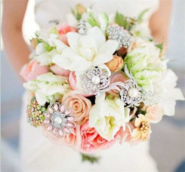 Brooch And Fresh Flowers Bouquet