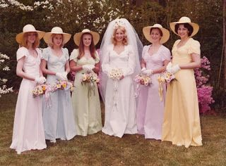 383b04fec56 The pastel rainbow theme for bridesmaids was popular in the 70 s