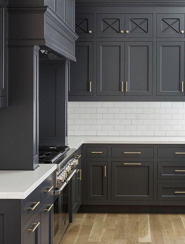 Dark gray cabinets kitchen idea in pinterest kitchen
