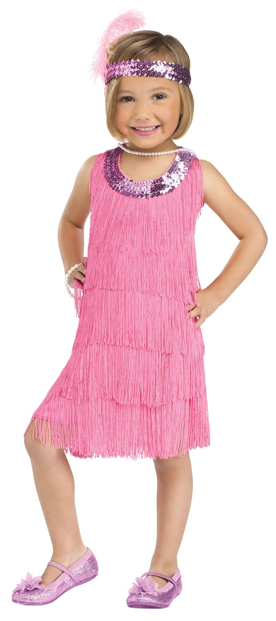 20s Pink Flapper Toddler Costume | Modelo, Bebe y Vestiditos