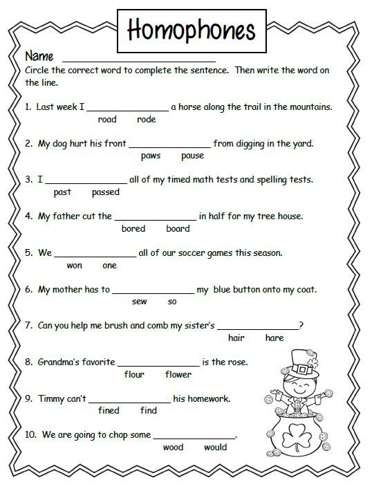 Free Homonyms Worksheets For 2nd Grade 1 School Pinterest