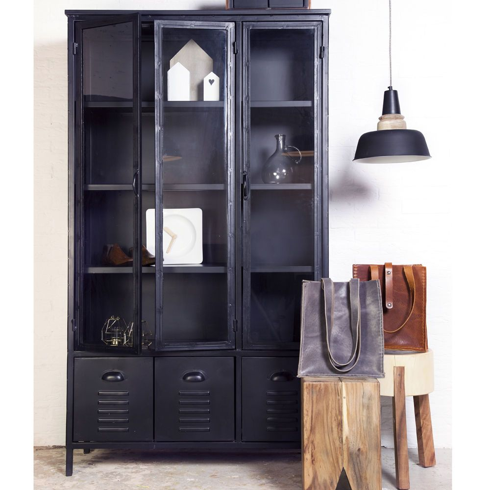 details zu industrie design vitrinenschrank vitrine. Black Bedroom Furniture Sets. Home Design Ideas