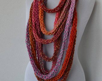 Knitting Loop Scarf : Scarf necklace loop infinity neck warmer hand