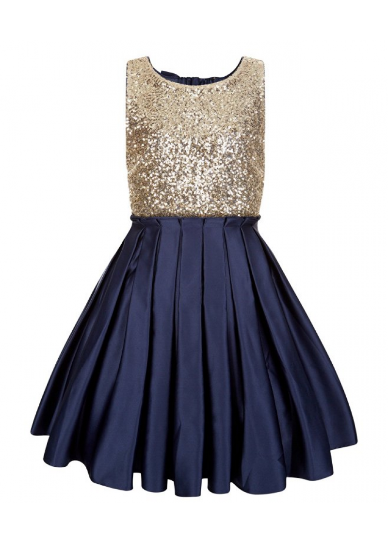 4117f48ccddc maybe navy blue tulle?? Gold Sequin Navy Satin Backless Wedding Flower Girl  Dress