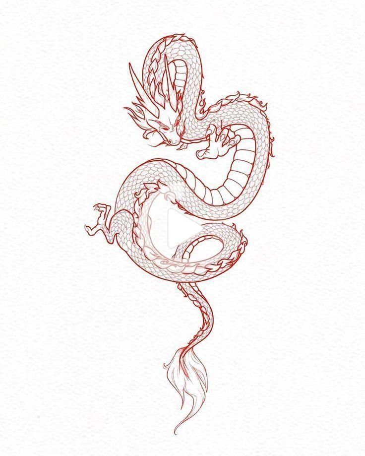 Chinese Dragon Tattoo Chinesisches Drachentattoo In 2020 Small Dragon Tattoos Red Dragon Tattoo Red Ink Tattoos