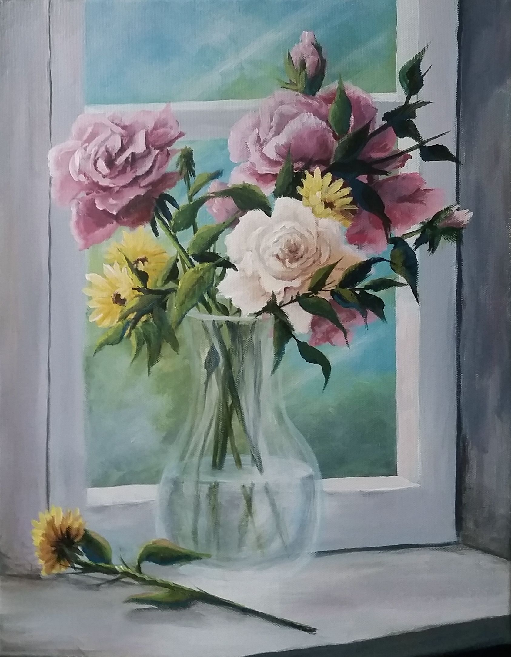 Flowers In A Vase Acrylic Painting By Kevin Hill Watch Short Oil