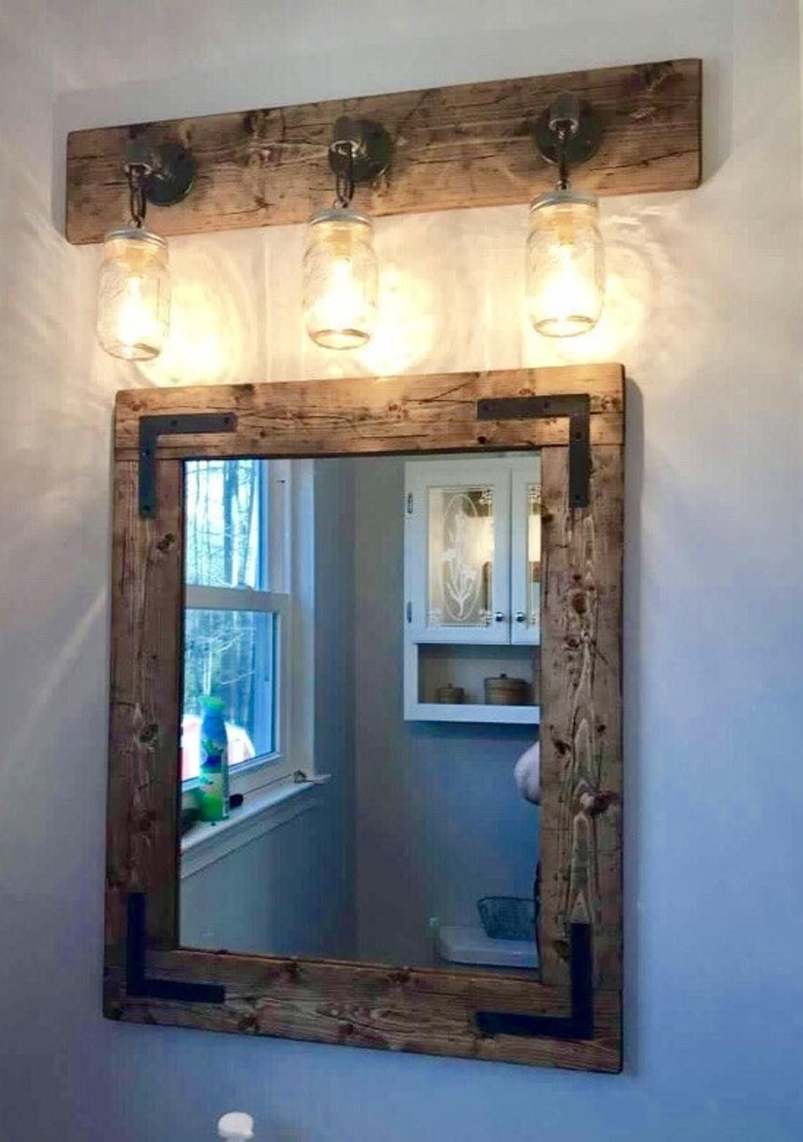 Rustic Distressed Mason Jar Light Fixture 3 Mason Jars