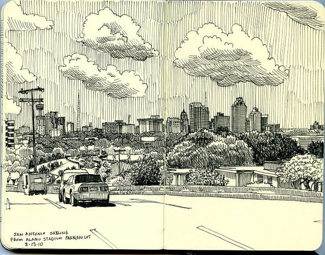 Libretas De Dibujo De Un Artista Freelance: San Antonio Skyline From Alamo Stadium Parking Lot