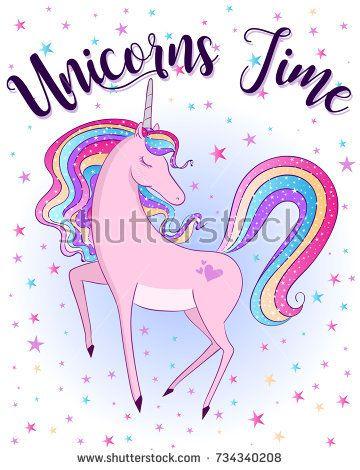 Unicorns Time Cute Magical Unicorn Sweet Kids Graphics For T