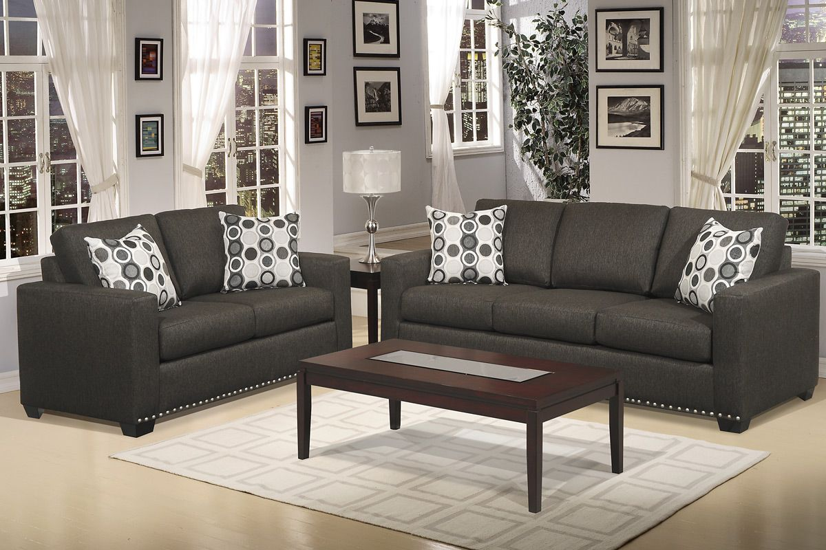 Dark Gray Couch Hills Collection 2 Pcs Living Room Sofa