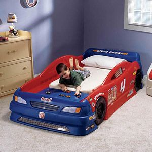 Step2 Stock Car Convertible Toddler To Twin Bed Red And Blue Walmart Com Toddler Bed With Storage Car Bed Toddler Beds