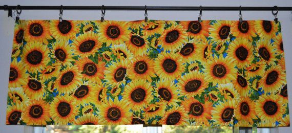 Sunflower Valances And Cafe Curtains Lightweight Cotton Handmade By Pretty Little