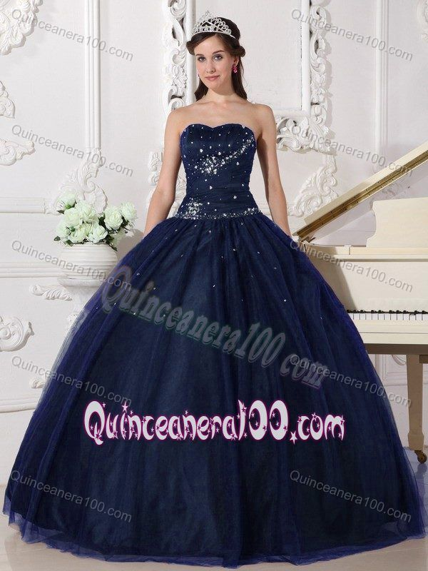 New Navy Blue Tulle Ball Gown Dress for a Quinceanera with Beading ...