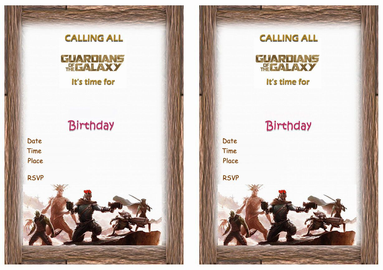 Guardians of the Galaxy FREE Printable Birthday Party Invitations ...