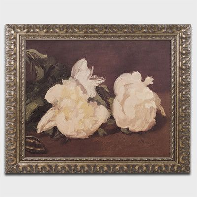 """Trademark Art 'Branch of Peonies' by Edouard Manet Framed Painting Print in White Size: 16"""" H x 20"""" W x 0.5"""" D"""