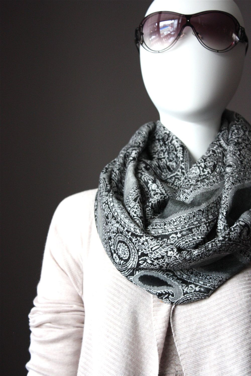 Black and White scarf, chunky scarf, winter scarf, pashmina ...
