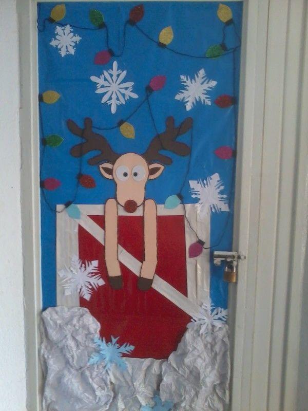 Puerta diciembre rudolph rodolfo el reno deer lights for Puertas decoradas con payasos