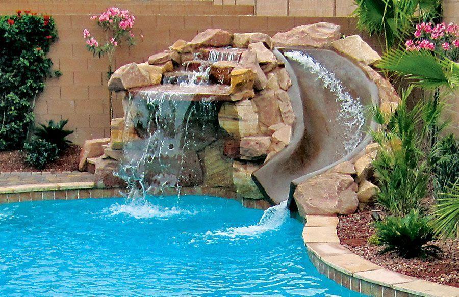 Pool Rock Slides Built By Blue Haven Pools Backyard Pool Cool