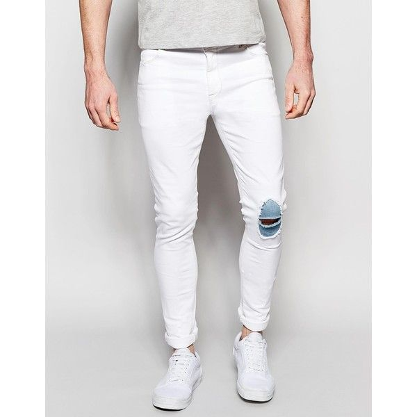 Asos Super Skinny Jeans With Knee Rips And Patch Detail 35 Liked On Polyvore Featuring M White Jeans Men Mens Distressed Skinny Jeans Mens Destroyed Jeans