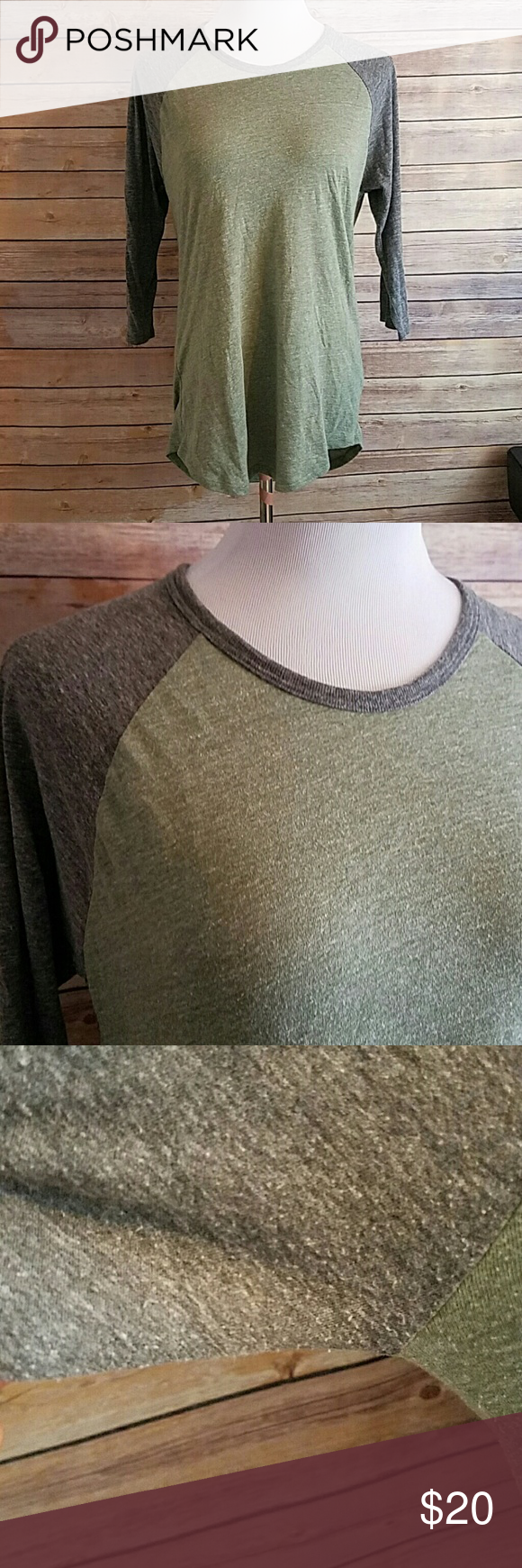 LULAROE Randy Baseball Grey Green Top LULAROE Soft Randy Baseball Grey Green Top with 3/4 Sleeve. Great condition but has some piling under arms.   Size Large LuLaRoe Tops
