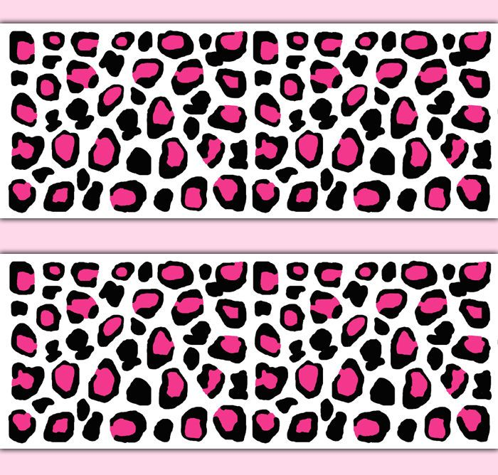 Hot Pink Leoaprd Print Wallpaper Border Decal Wall Art Teen Girl Animal  Stickers