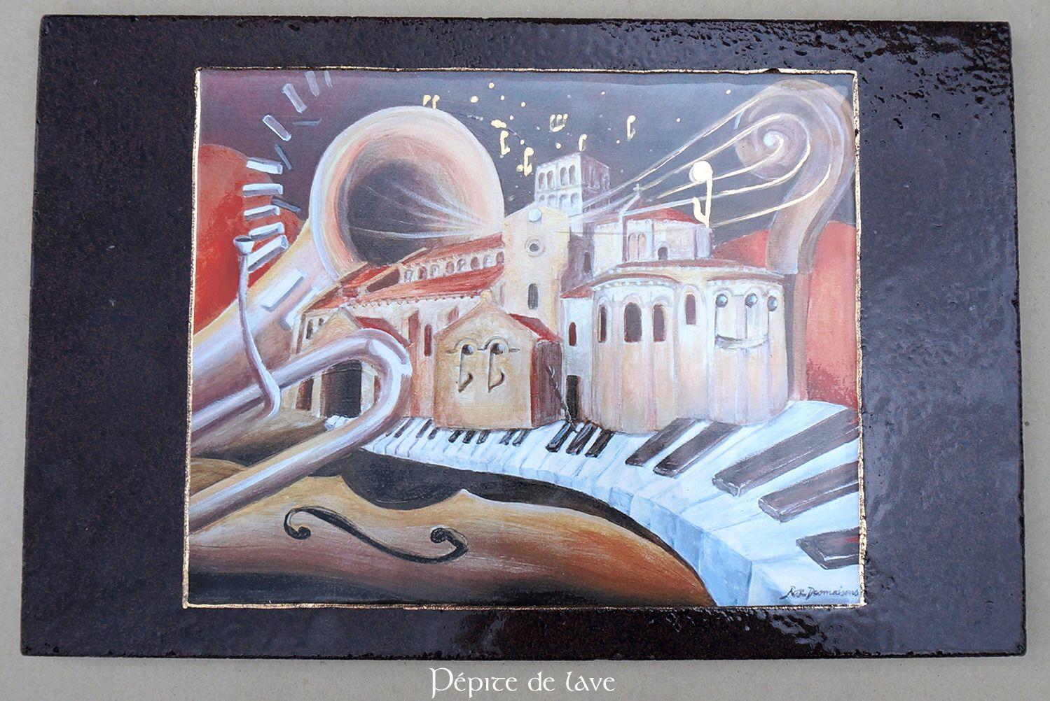 Tableau Chatel Montagne en lave émaillée de volvic : Décorations murales par pepite-de-lave