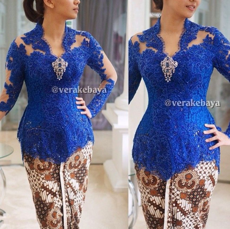 Vera Kebaya Biru Elektrik Brokat Lace Di 2019 Kebaya Kebaya