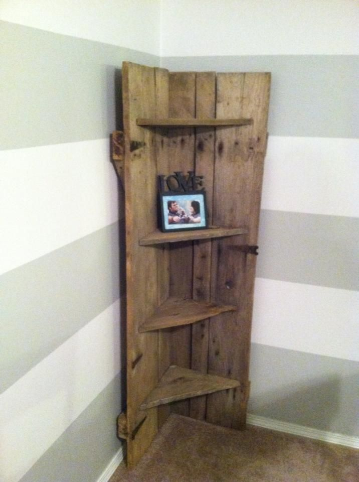 Barn Door Repurposed Into A Corner Shelf Wood Corner Shelves Rustic Corner Shelf Barn Door Decor